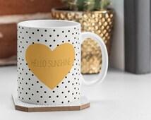 Hello Sunshine Heart and dots Coffee Mug / hello sunshine / yellow heart / black and white dots / cute / girly / pattern / preppy / hello