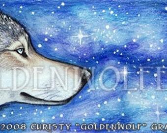 Cosmic Wolf and Stars Print