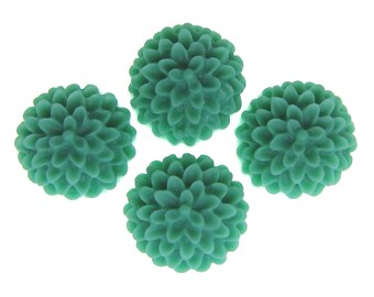 Flower Cabochon : 6 Seamist Green Resin Chrysanthemum Flower Cabochons | Lucite Flowers | Plastic Flower Cabs  -- 14.2
