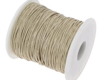 Waxed Cotton Cord : 10 feet Light Khaki Tan 1mm Waxed Cord String | Bracelet Cord -- 90701-7.10