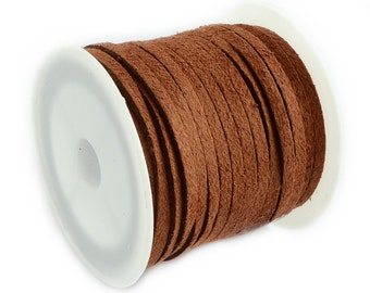 Faux Suede Cord :  5 meters (16 feet) Sienna 3x1.5mm Lace Cord | Brown Flat Faux Leather Bracelet Cord |  Suede Cording 003-40