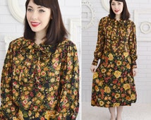 Vintage Floral Long-Sleeve Midi Dress with Collar and Neck Tie by Lane's Size Medium