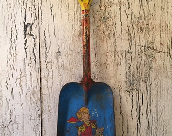 Vintage Tin Shovel - Rustic Child's Toy Beach Sand Shovel - Litho - Ohio Art