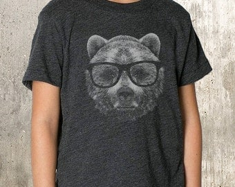 Kid's Graphic T-Shirt - Wise Bear - TriBlend T-Shirt