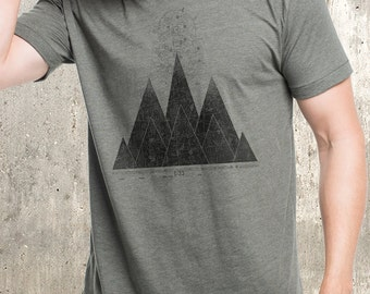 Men's T-Shirt - Mountains & Maps - Screen Printed Men's American Apparel T-Shirt