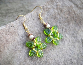 Green and Gold Flower Earrings