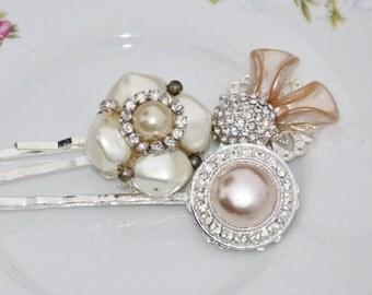 Vintage Champagne Pearl & Rhinestone Bridal Hair Pins,Ivory Faux Pearl,Champagne Ecru,Rhinestone,Repurposed Custer Earring,Faux Pearl,OOAK