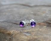5mm Super Tiny Amethyst Button Post Earrings. Dark Purple Amethyst and Sterling Silver Bezel Set Stud Earrings.
