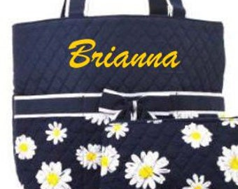 Personalized Diaper Bag Daisies Quilted Monogrammed 3 pc Set