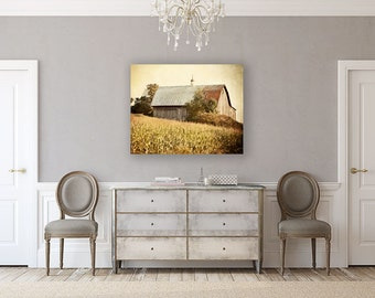 Canvas Wall Art: Gold Wall Art, Barn Landscape, Barn Photography, Autumn Landscape, Country Decor, Barn Picture, Farmhouse Art.