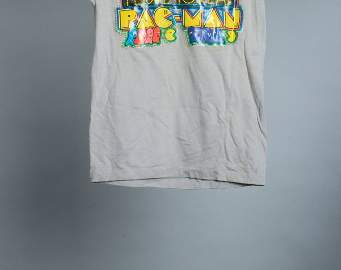 Youth Small 1970s Vintage Pac-Man T Shirt Glitter Transfer Graphic Tee 6AA