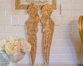 OMG Vintage Angel Wings, Gilded Wood, Florentine