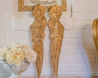 OMG Vintage Angel Wings, Gilded Wood, Florentine