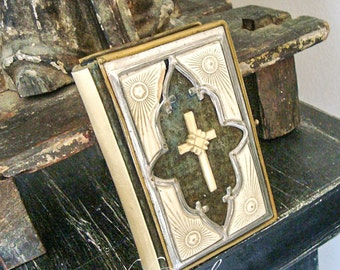 Antique German Bible, Celluloid, Bakelite, Silver and Brass Cover with Cross, Prayer Book, Early 1900's