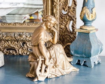 Antique French Lady Statue, Garniture, Spelter, Mantel Clock Topper