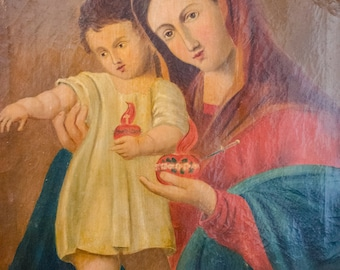 Antique Oil Painting Madonna and Christ Child with Sacred Hearts, 19th Century, on Canvas, Framed
