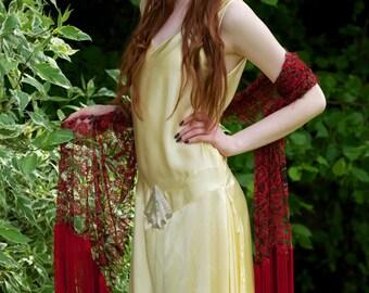 1920's Vintage Silk dress. Downton Abbey, Great Gatsby style. Pastel Lemon