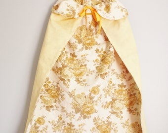 Princess cape dress up, dress up costume, cream and yellow roses, would fit 3-4 year old