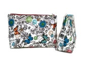 Large French Paris Birds and Butterflies Leaves Flowers Zipper Storage Pouch S153