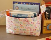 Fabric Basket w/ Alphabet lettering for kid's room/ children's room decor/ gift basket/ Abc Fabric