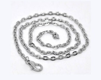 "2 Chain Necklaces in Silver Tone - 16"" - N003"