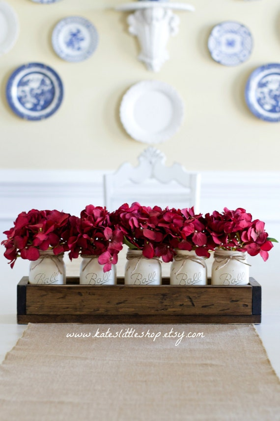 Christmas and fall table centerpiece planter box with pint