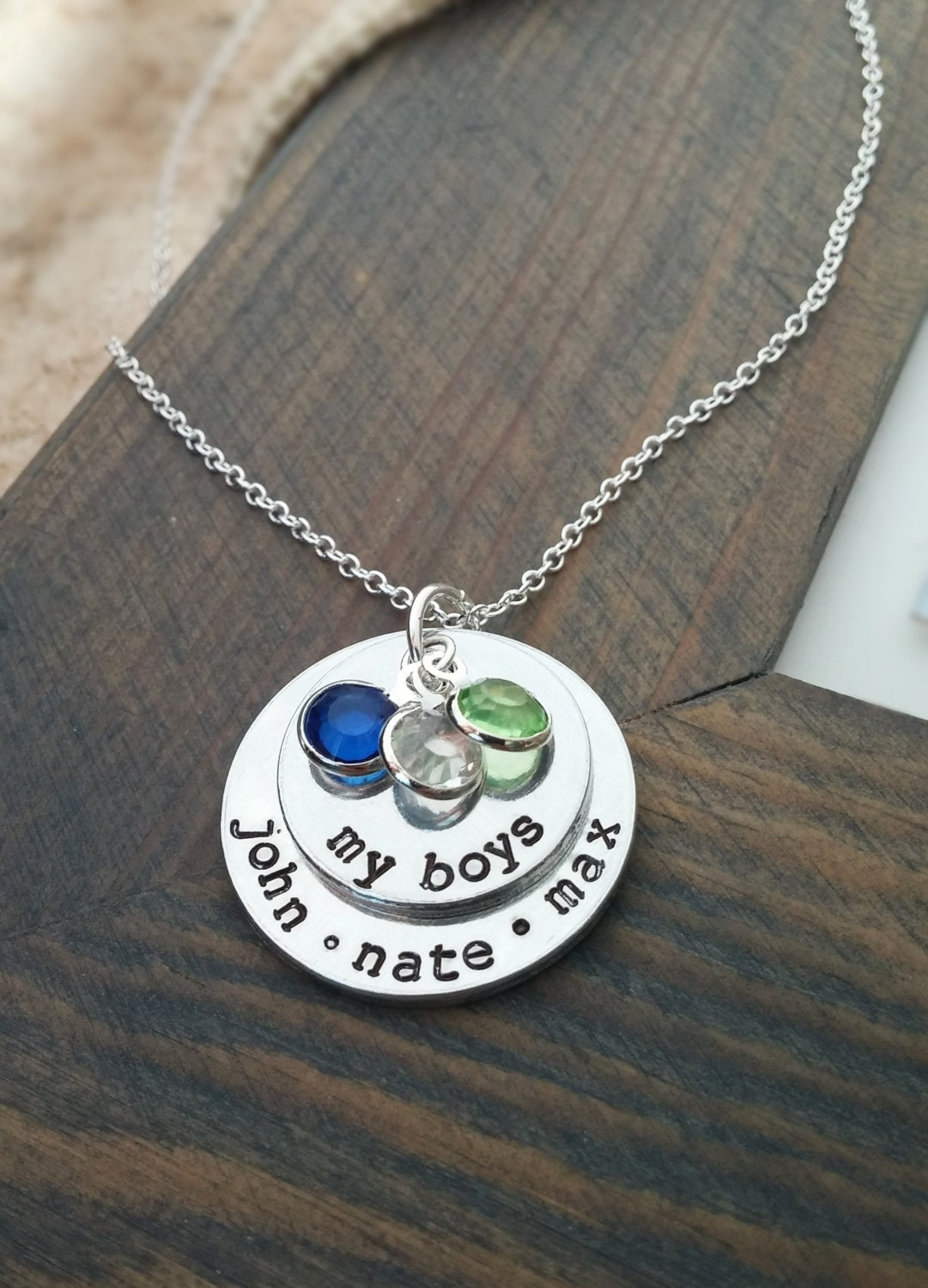 mom of boys necklace personalized family necklace with kids. Black Bedroom Furniture Sets. Home Design Ideas