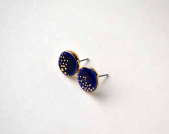 Cobalt magic earrings - blue porcelain jewelry - Matsumaini Collection - 24K gold painted porcelain stud post earrings