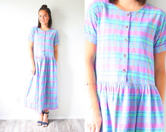 Vintage pink purple blue checkered dress // summer gingham long fall maxi dress // plaid fall dress // winter dress // short sleeve retro