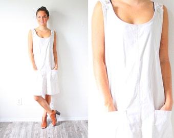 Vintage short jean overalls khaki dress // cream overalls // off white overall dress // retro jumper dress // khaki dress // 90's dress