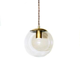 "Mid Century Modern 8"" Glass Globe Brass Vintage Style Pendant Light"