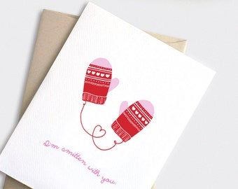 Cute Valentine Card - I'm Smitten with You - Punny Funny Anniversary Card, Valentine Mittens, Red Pink or Aqua Blue White Hearts
