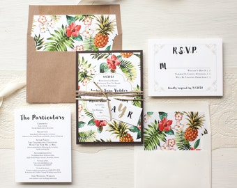 "Tropical Pineapple Wedding Invitations, Destination, Hawaiian Wedding, Kraft, Raffia, Floral Envelope Liners - ""Pineapple Paradise"" Sample"