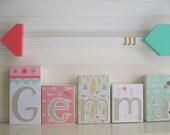 Modern Name Blocks . Arrow Nursery . Tribal Nursery. Boho Baby . Coral . Mint . Arrow Name Blocks . Nursery Name Block .