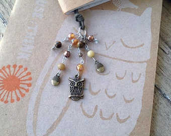 Autumn Owl Bookmark Beaded Fall Book Thong Woodland Forest Birds Nature Acorns