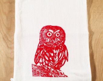 Owl Screen Printed Tea Towel Red