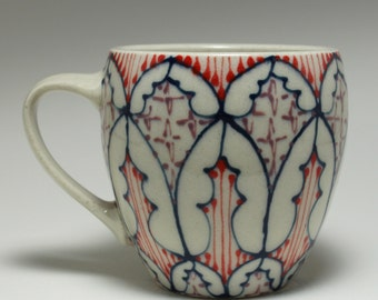 Handmade Wheel Thrown Ceramic  Mug with Navy, Red and Purple Pattern