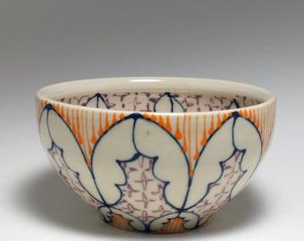 Small Wheel Thrown Handmade Ceramic Bowl with Navy, Orange and Purple Pattern