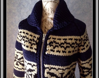 """In Stock Ready to Ship!* Snowflake Design  Vintage Canadian Style Wool Sweater (Fits 32-34"""" Chest)"""