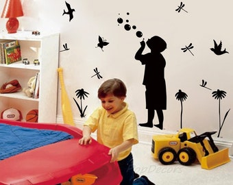 "Little Boy blowing bubbles Wall Decal(52""H by 79""W) - Boys Room Wall Stickers Children Bedroom Wall Decors- Designed by Anita-007"