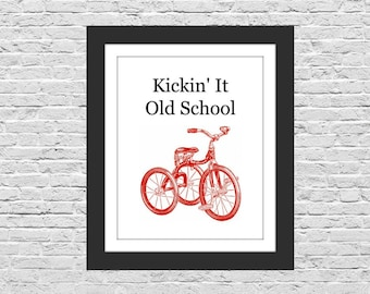 Old School Trike, Digital Download Art Print, Kids Room Wall Decor, Red Tricycle, Instant Download, Retro Art for Children, 8x10 Printable
