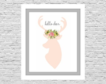 Hello Deer, Pink Deer Silhouette, Little Girls Room Art, Girls Wall Decor, Instant Download, Deer Antlers and Flowers, 8x10 Print Size