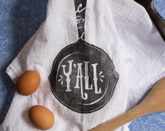 100% Cotton Y'all Flour Sack Hand/Dish Towel for Kitchen (Illustrated & Silkscreened By Hand)