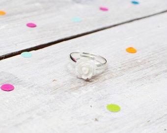 White Rose Ring | Flower Ring | Adjustable