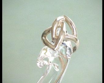 Sterling Silver Ring / Boho Bohemian Hippie / Vintage 1970s / Size 5.75 / 3.75 Grams 925 Sterling / Open Design / Retro / Modernist