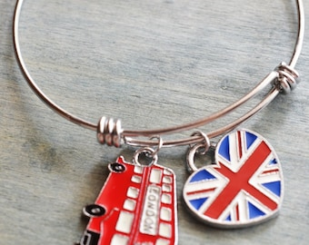 london bangle, long british charm bracelet, uk flag gift, double decker jewelry, travel gift, london jewelry, london trip, best friend gift