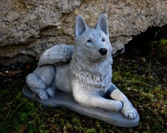 German Shepherd Angel Statue, Dog Angel, Pet Memorial Statue, Concrete Cement Dog Statues With Wings. Pet Angels, Angel Dog Figure.