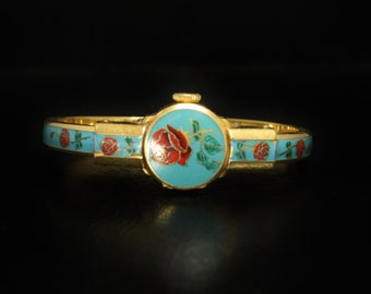 Bucherer 17j Enamel Watch 1950s Mechanical Movement Gold Plated Hinged Band
