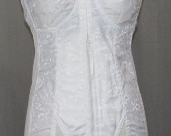 Vintage 1960 Full Corset / Girdle Sheer Cups Firm Support Full Freedom #4444 / 39C Unworn Lingerie