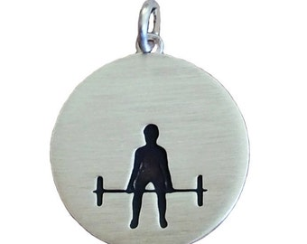 Sterling Silver Weightlifting Deadlift Necklace